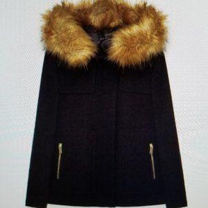 Zara coat with faux fur hood - XS NWOT